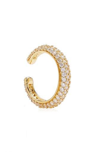 Slim Crystal-Embellished Gold-Plated Ear Cuff