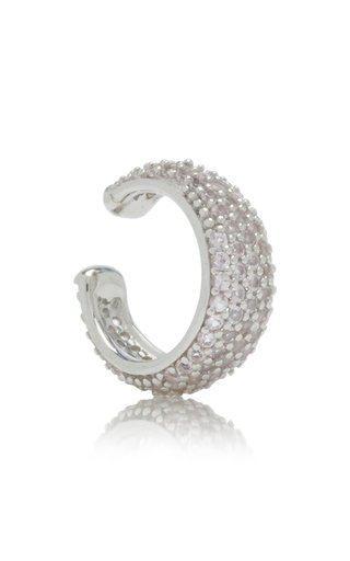 Thick Crystal-Embellished Sterling Silver Ear Cuff