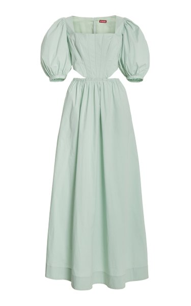 Astro Puff-Sleeve Cutout Cotton Maxi Dress