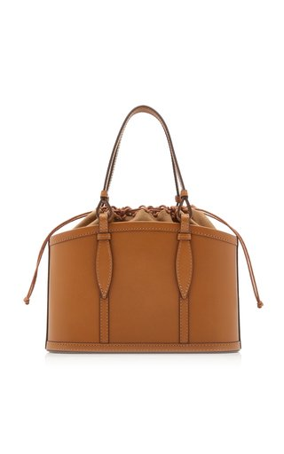 The Small Basket Leather Top Handle Bag
