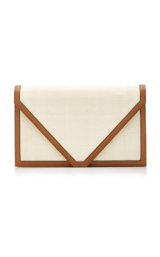 The Envelope Leather-Trimmed Fique Clutch
