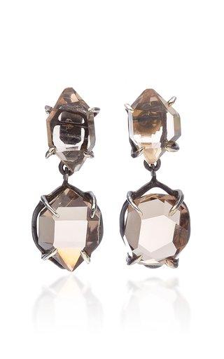Herkimer Duplo Quartz Oxidized Silver Earrings