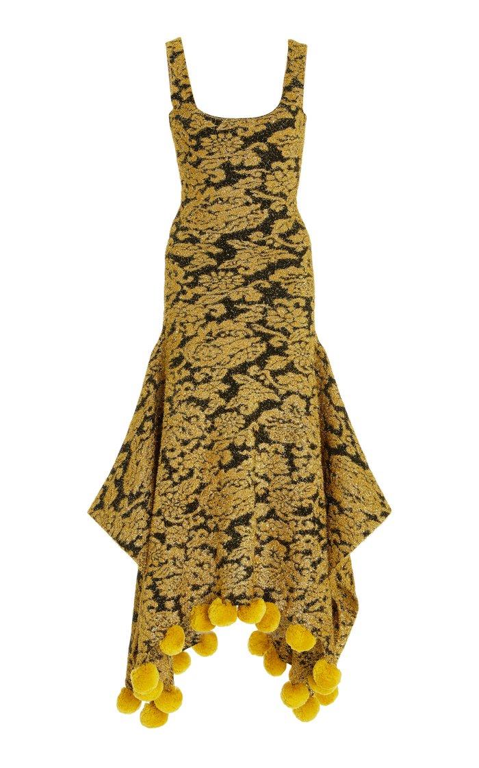 Pom Pom-Trimmed Metallic Jacquard Maxi Dress