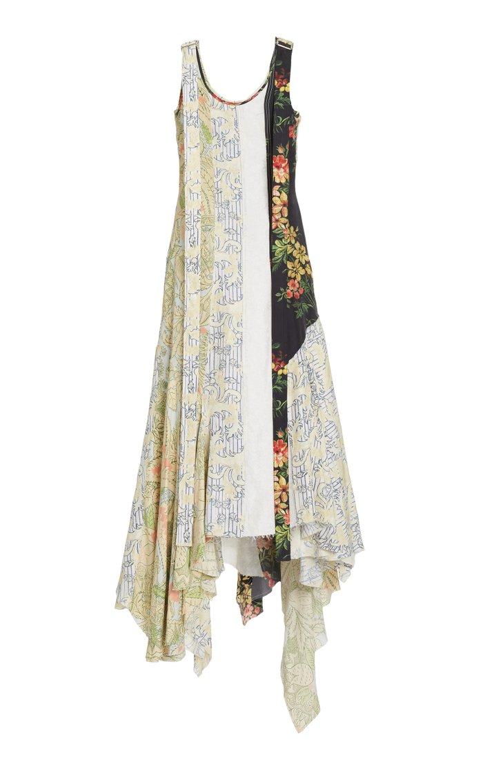 Multi-Print Crepe Asymmetric Maxi Dress