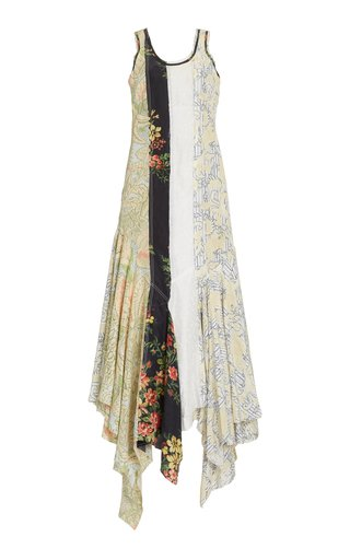 Multi-Print Crepe Asymmetric Maxi Dress