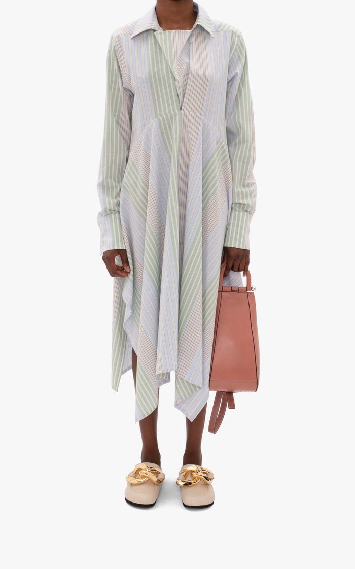 Handkerchief-Hem Striped Cotton Poplin Shirt Dress