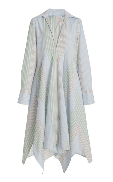 Handkerchief-Hem Striped Cotton Poplin Shirt Dress