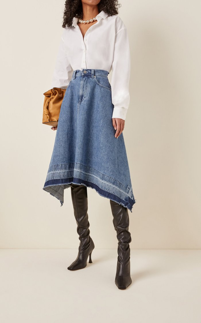 Released-Hem Denim Midi Skirt