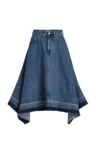 Released-Hem Denim Midi Skirt