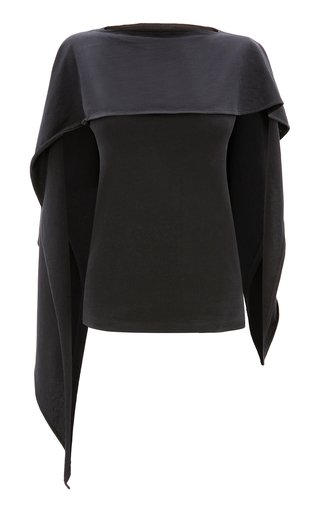 Drape-Paneled Cotton Top