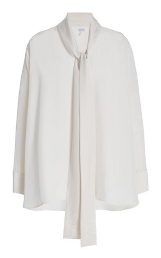 Oversized Embroidered Silk Tie-Neck Top
