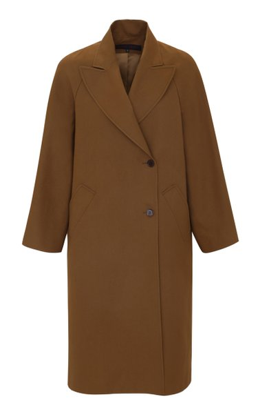 Peak-Lapel Cotton-Blend Coat