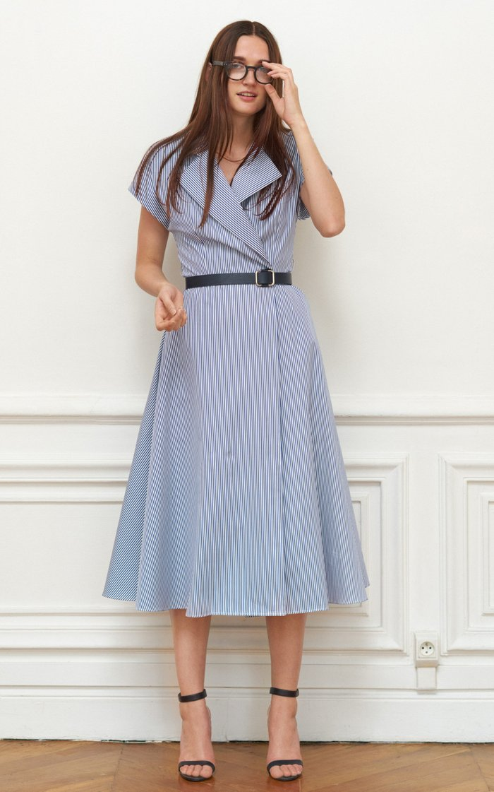 Belted Striped Cotton Midi Wrap Dress