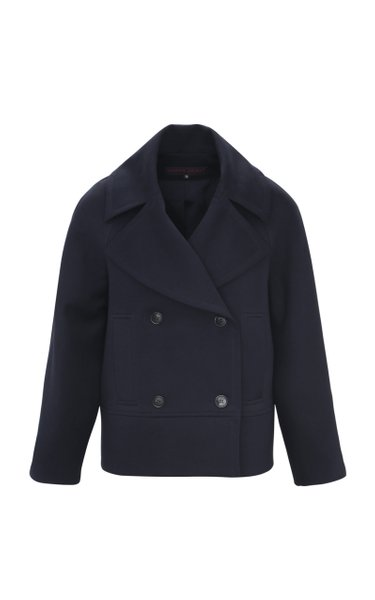 Cropped Cotton-Blend Jersey Peacoat