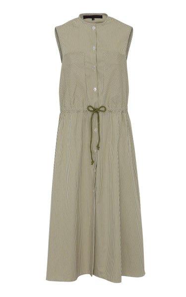 Striped Cotton Poplin Drawstring Midi Dress