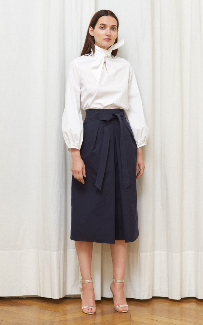 Belted Pleated Cotton A-Line Midi Skirt