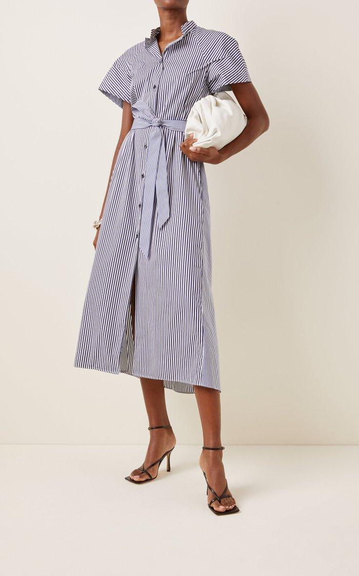 Belted Striped Cotton Midi Shirt Dress