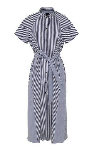 Belted Striped Cotton Midi Shirt Dress