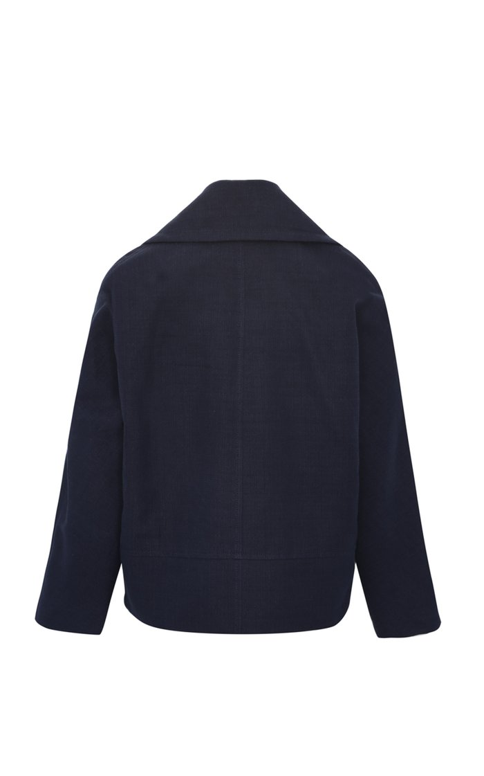 Limited Edition Cropped Textured Canvas Peacoat