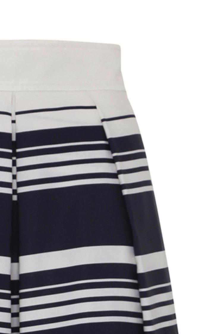 Striped Cotton A-Line Midi Skirt