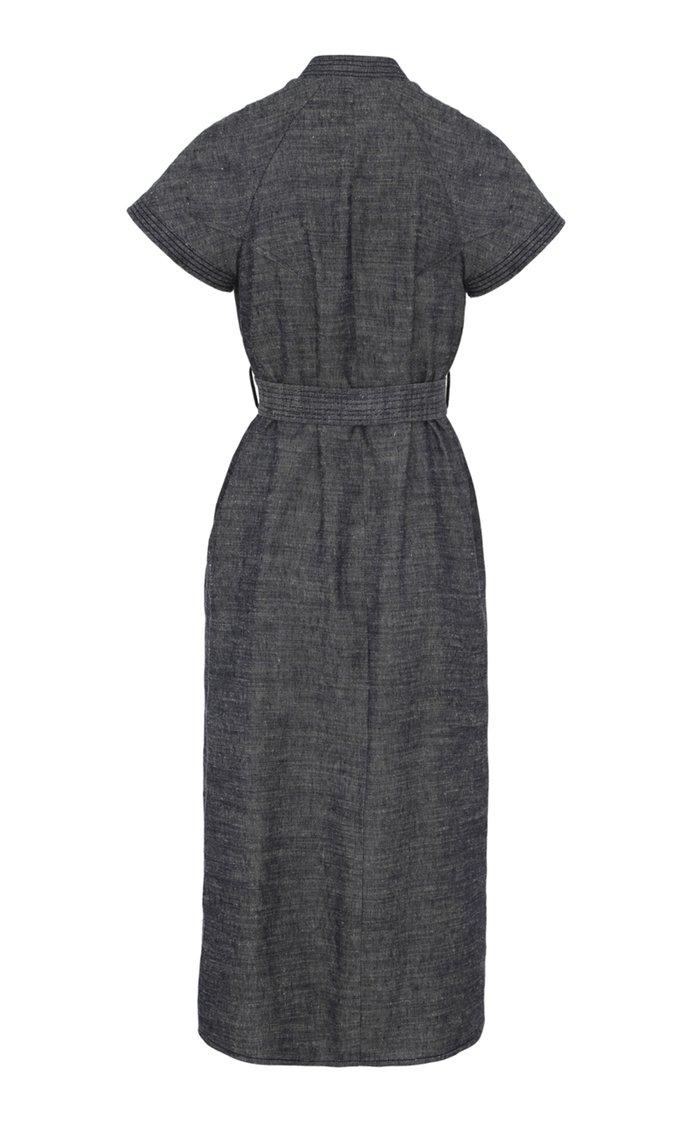 Limited Edition Belted Linen-Blend Midi Shirt Dress