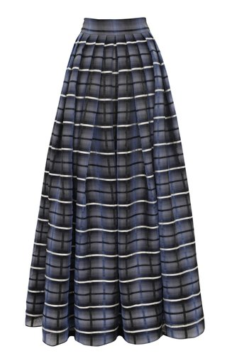 Limited Edition Checked Linen-Silk Organza Maxi Skirt