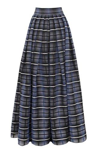Limited Edition Checked Linen-Silk Organza Maxi Skirt