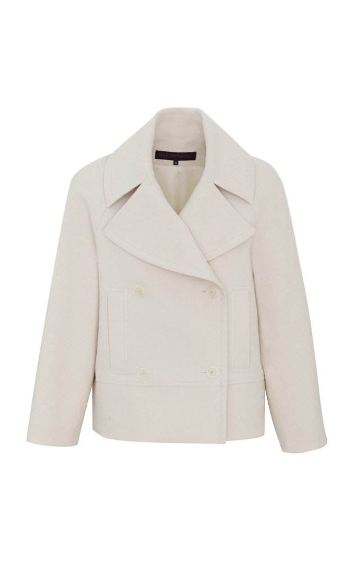 Cropped Textured Cotton Peacoat