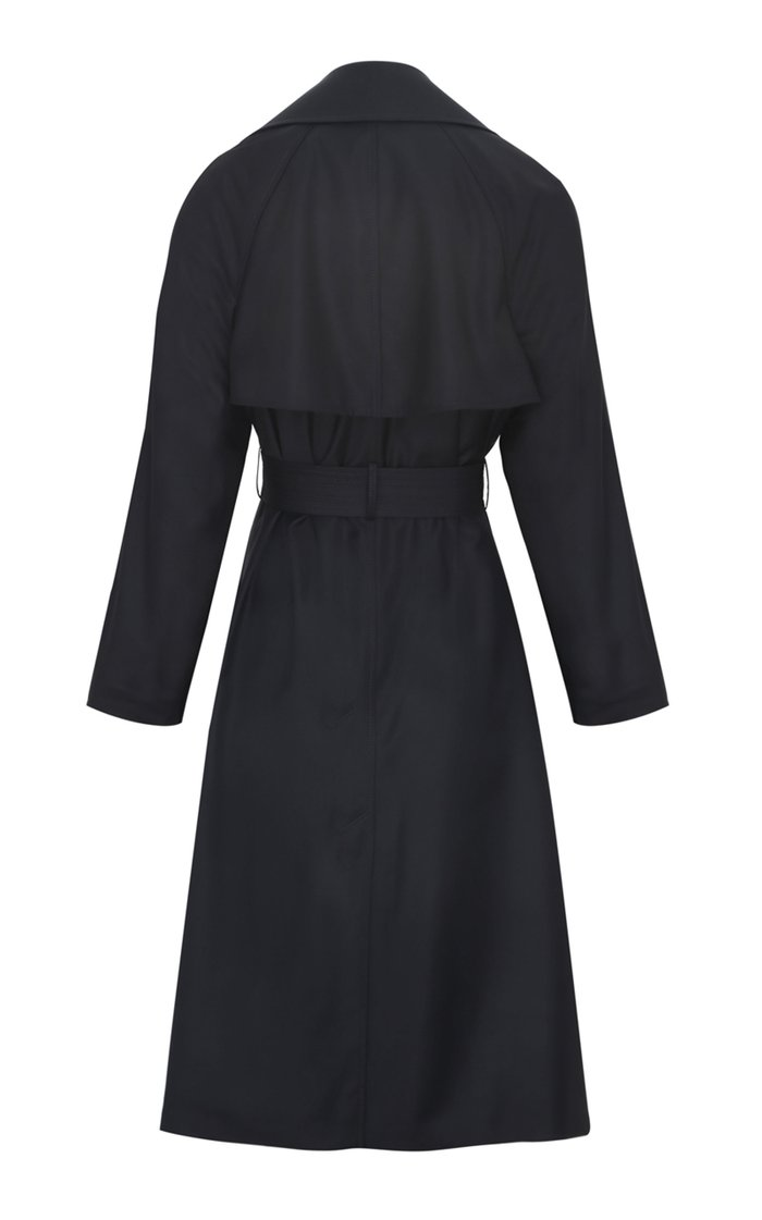 Belted Fluid Wool Trench Coat