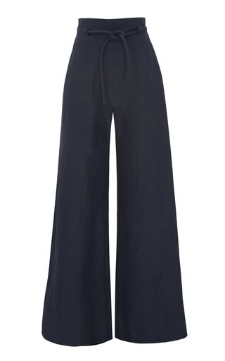 Rope-Detailed Linen-Blend Wide-Leg Trousers