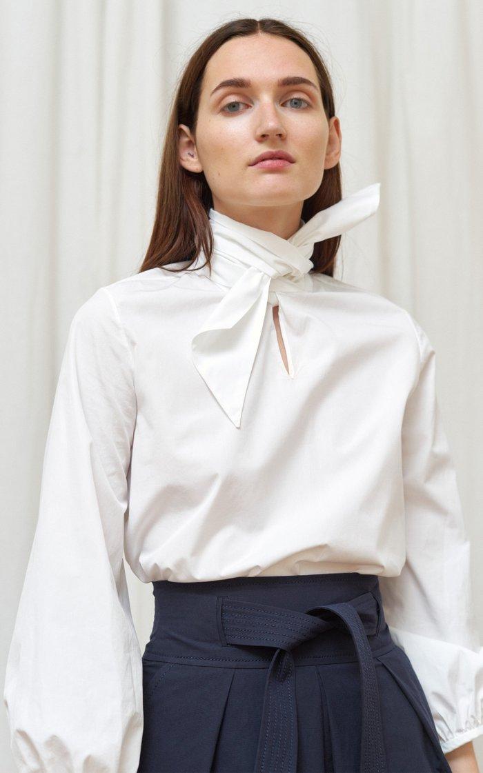 Puff-Sleeve Cotton Poplin Tie-Neck Blouse