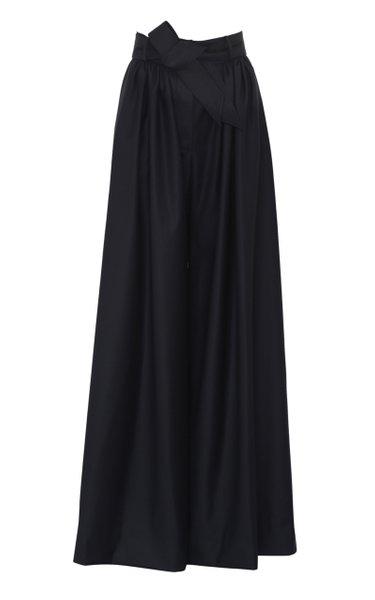 Belted Wool Wide-Leg Trousers