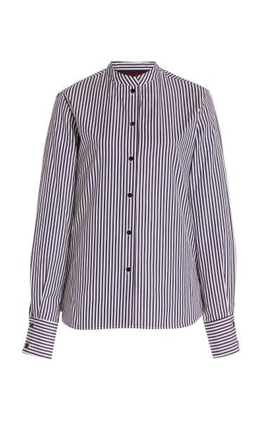 Banded-Collar Striped Cotton Poplin Shirt