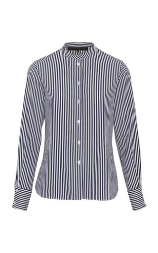 Banded-Collar Striped Cotton Poplin Shirt