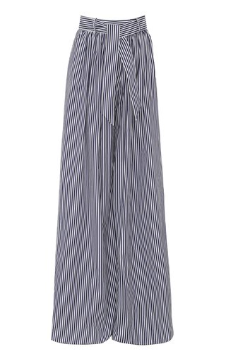 Pleated Striped Cotton Wide-Leg Trousers