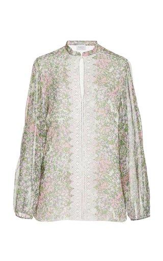 Eyelet-Detailed Floral Silk Top