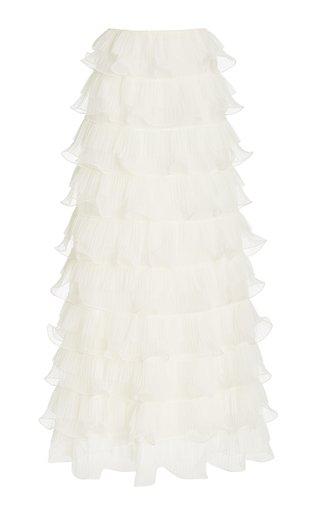 Tiered Plissé Tulle Maxi Skirt