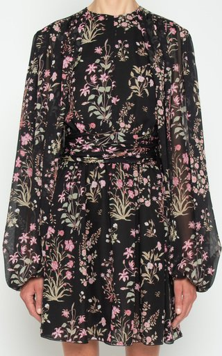 Floral Balloon Sleeve Silk Dress