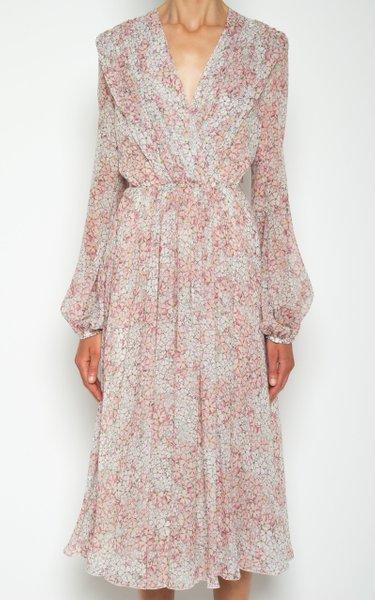 Floral V-Neck Silk Dress
