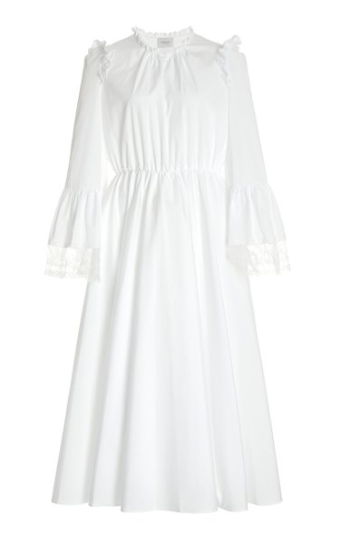Ruffled Lace-Trimmed Cotton Maxi Dress