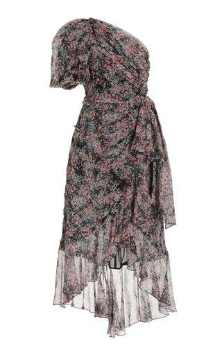 Floral Silk One-Shoulder Midi Dress