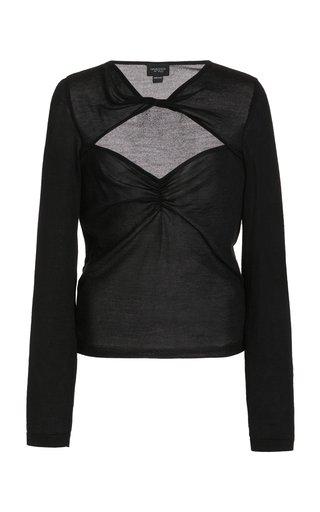 Cashmere Silk Open Neckline Knit Top