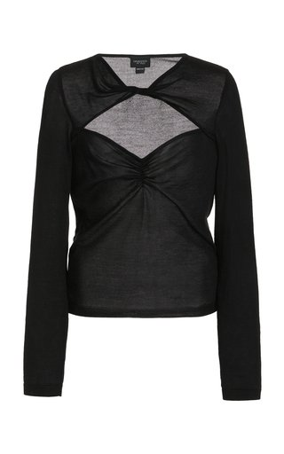 Cashmere Silk Open Neckline Knit Top