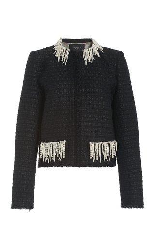 Pearl-Trimmed Tweed Cropped Jacket