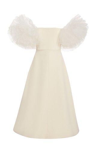 Tulle-Sleeve Crepe Midi Dress