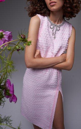 Embellished Neckline Tweed Mini Dress