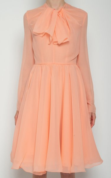 Tie-Neckline Silk Mini Dress
