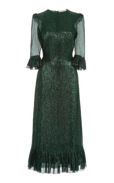 The Falconetti Metallic Chiffon Midi Dress