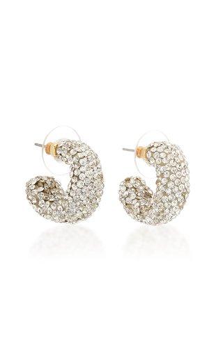 Crystal Huggie 14k Gold-Plated Hoop Earrings