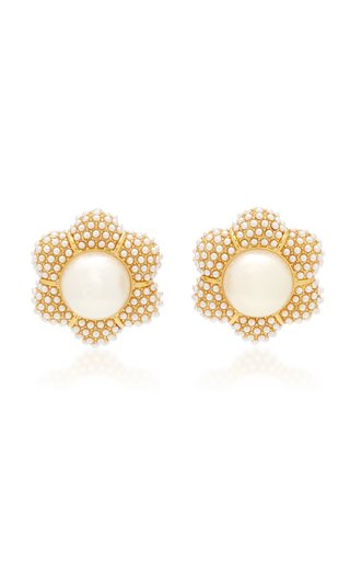 Carnation 14k Gold-Plated Pearl Button Earrings